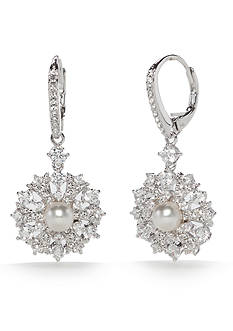 Nadri Silver-Tone Lily Flower Pearl Drop Earrings