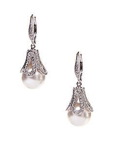 Nadri Pearl Drop Earrings in Pave Detail