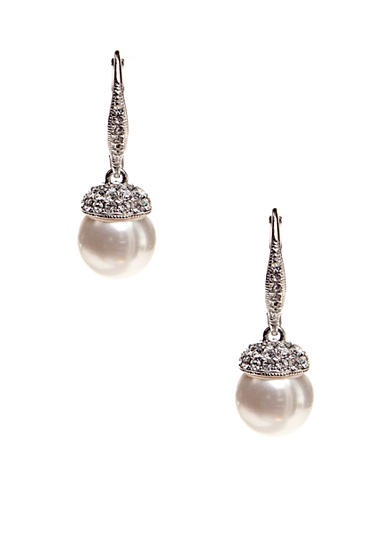 Nadri Pearl Drop Pave Cap Earrings