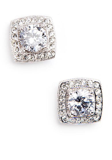 Nadri Crystal and CZ Square Framed Stud Earrings