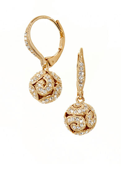 Nadri Bead Drop Lever Back Earrings