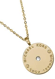 Michael Kors Gold Logo Disc Pendant Necklace