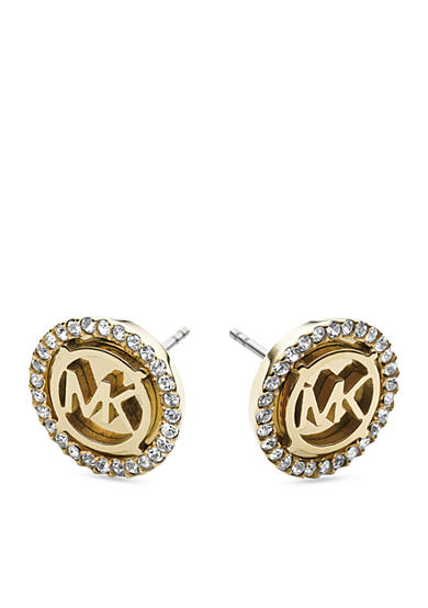 Michael Kors Gold-Tone MK Clear Pave Stud Earring