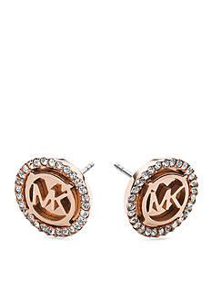 Michael Kors Rose Gold-Tone MK Pave Stud Earring