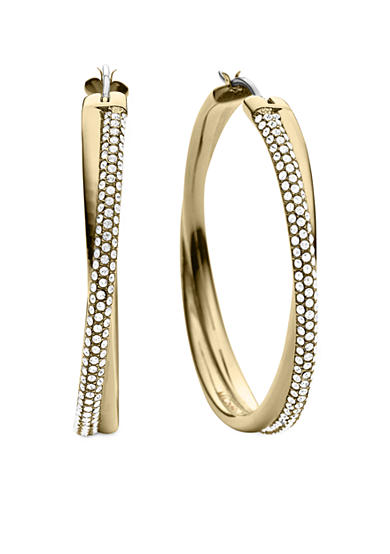 Michael Kors Gold Tone Clear Pave Crossover Hoop Earrings