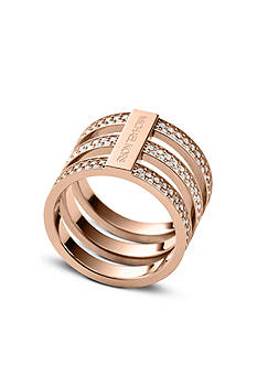 Michael Kors Rose Gold-Tone Clear Pave Tri-Stack Barrel Ring