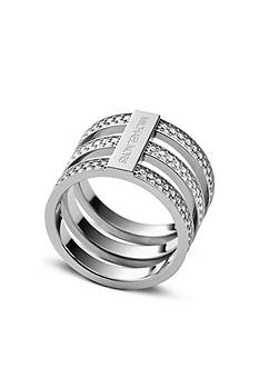 Michael Kors Silver-Tone Clear Pave Tri-Stack Barrel Ring