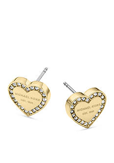 Michael Kors Gold-Tone Clear Pave Logo Heart Earring