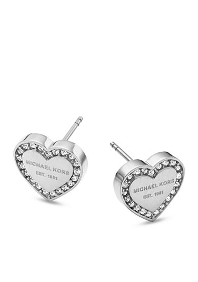 Michael Kors Silver Tone Clear Pave MK Logo Heart Earrings