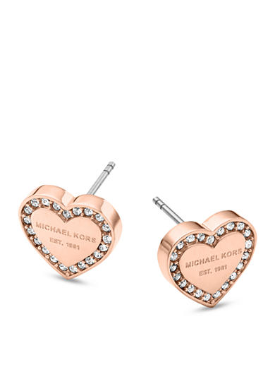 Michael Kors Rose Gold-Tone Clear Pave Logo Heart Post Earrings