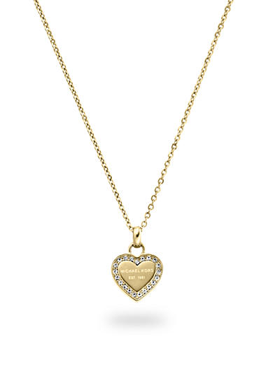 Michael Kors Gold-Tone Clear Pave Logo Heart Necklace