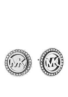 Michael Kors Silver-Tone Pave Monogram Stud Earring