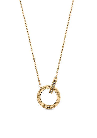 Michael Kors Gold-Tone Clear Interlocking Logo Pendant Necklace
