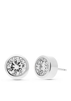 Michael Kors Silver-Tone Clear Crystal Stud Earrings