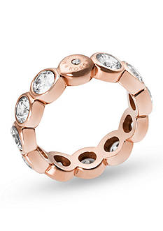 Michael Kors Rose Gold-Tone Crystal Embellishment Statement Ring