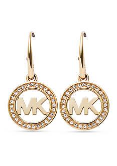 Michael Kors Gold-Tone Pave Crystal Logo Drop Earrings