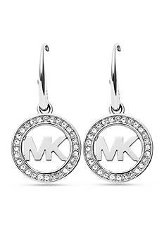 Michael Kors Silver-Tone Pave Crystal Logo Drop Earrings