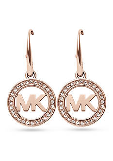 Michael Kors Rose Gold-Tone Pave Crystal Logo Drop Earrings