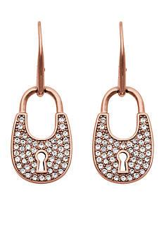 Michael Kors Rose Gold-Tone Pave Embellished Padlock Drop Earrings