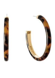 Michael Kors Gold-Tone Tortoise Acetate Hoop Earrings
