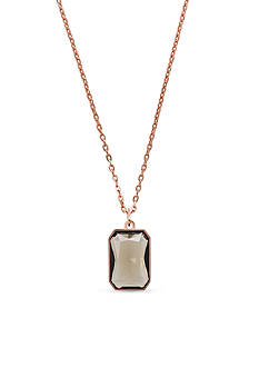 Michael Kors Rose Gold-Tone Radiant-Cut Grey Crystal Pendant Necklace