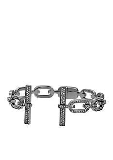 Michael Kors Gunmetal-Tone Pave Crystal Chain Link Cuff Bracelet