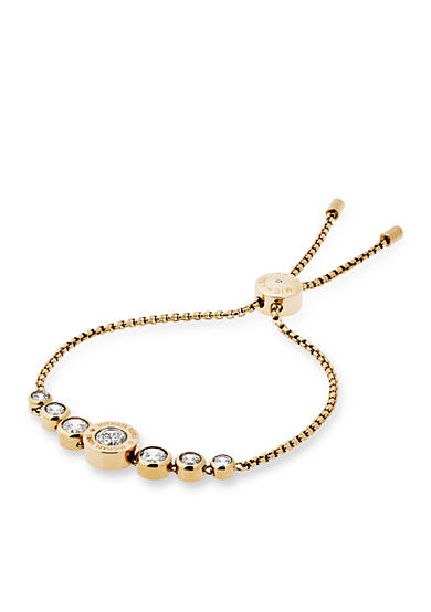 Michael Kors Gold-Tone Bezel Set in Cubic Zerconium Logo Adjustable Bracelet