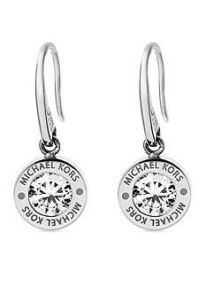 Michael Kors Silver-Tone Cubic Zirconia Logo Drop Earring
