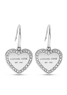 Michael Kors Silver-Tone Heart Drop Earring