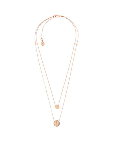 Michael Kors Rose Gold-tone Crystal Pendant Necklace