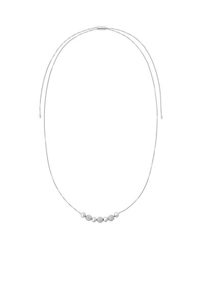 Michael Kors Silver-Tone and Crystal Bead Slider Chain Necklace