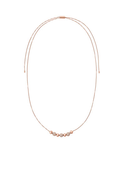 Michael Kors Rose Gold-Tone and Crystal Beads Slider Chain Necklace