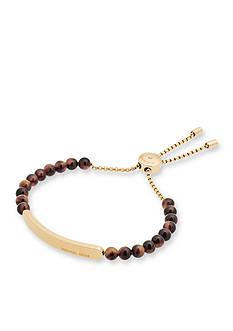 Michael Kors Gold-Tone and Tortoise Beaded Slider Bracelet