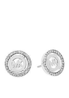 Michael Kors Silver-Tone Mother of Pearl Monogram Button Earrings