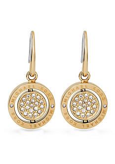 Michael Kors Gold-Tone Flip Crystal Logo Drop Earrings