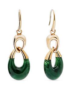 Michael Kors Gold-Tone Green Drop Earrings
