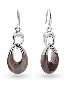 Michael Kors Silver-Tone Mocha Drop Earrings