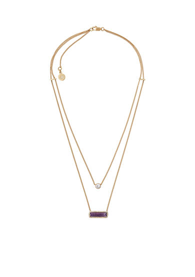 Michael Kors Gold-Tone Two Chains Pendant Necklace