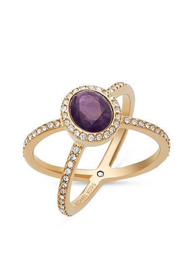 Michael Kors Gold-Tone Purple Amethyst Pave Double Banded Ring