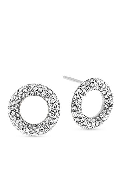 Michael Kors Silver-Tone Pave Crystal Stud Earrings