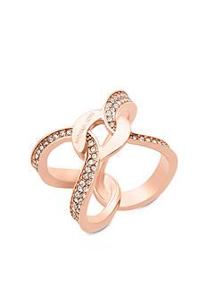 Michael Kors Rose Gold-Tone Interlocking Pave Ring