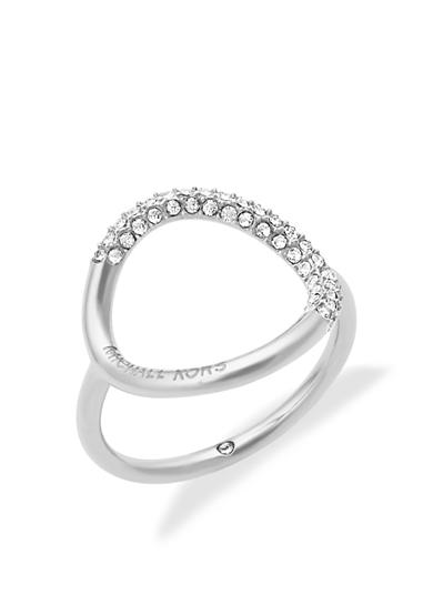 Michael Kors Silver-Tone Open Circle Pave Crystal Ring