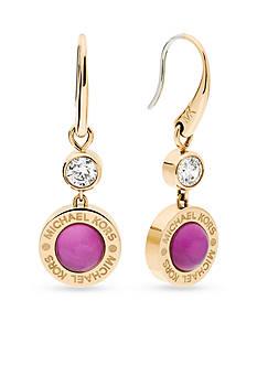 Michael Kors Gold-Tone Purple Mother of Pearl Drop Earrings