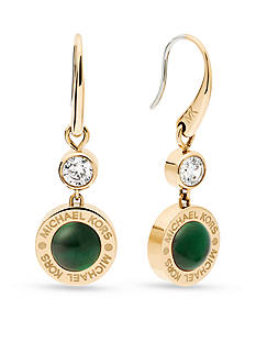 Michael Kors Gold-Tone Green Mother of Pearl Drop Earrings