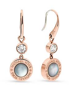 Michael Kors Rose Gold-Tone Gray Mother of Pearl Drop Earrings
