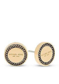 Michael Kors Gold-Tone Logo Button Earrings