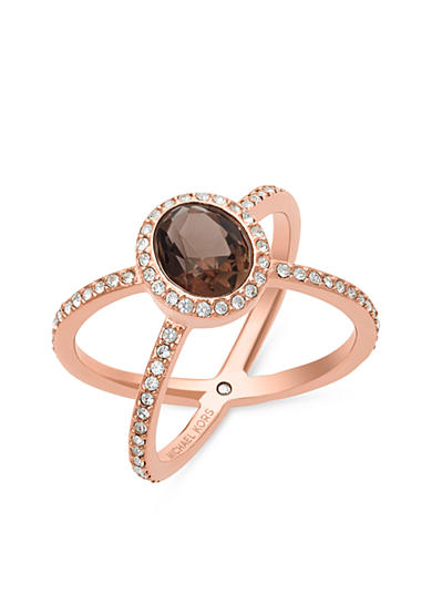 Michael Kors Rose Gold-Tone Smoky Topaz Pave Double Banded Ring