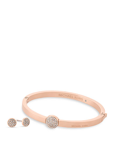 Michael Kors Jewelry Rose Gold-Tone Dome Hinged Bangle and Stud Earrings Set