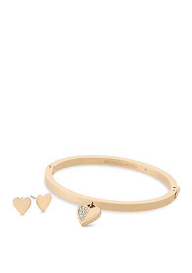 Michael Kors Jewelry Gold-Tone Heart Hinged Bangle and Stud Earrings Set