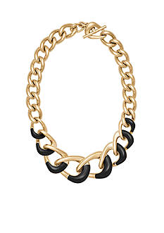 Michael Kors Gold-Tone Black Chain Necklace